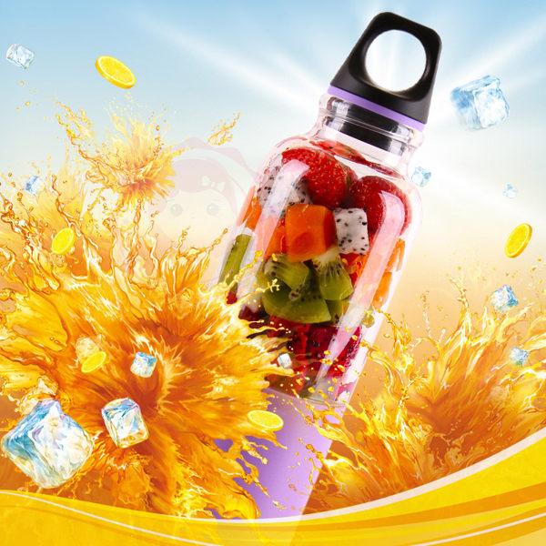 馬卡龍電動USB充電蔬果榨汁機杯果汁機500ml (1入) 3款可選【庫奇小舖】