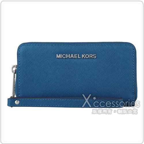 MK MICHAEL KORS JET SET TRAVEL銀字防刮牛皮拉鍊手拿中夾(鋼藍)