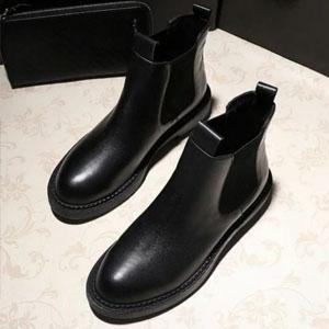 SUPER SALE整點特賣  帥氣鬆緊帶漆皮圓頭平底低跟短筒馬丁靴-偏小-黑-36-39 [KE044 ]  zalulu愛鞋館