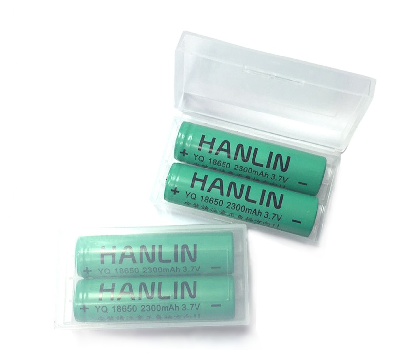 【風雅小舖】HANLIN-18650電池 2300mAh保證足量(一組二顆 附贈電池收納盒) 通過國家bsmi認可