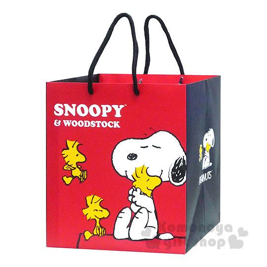 〔小禮堂〕史努比 寬底提袋《紅.側坐.閉眼.抱 糊塗塔克》送禮包裝最方便