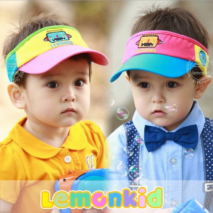 Lemonkid◆ 亮彩糖果色可愛機器人兒童防曬空頂鴨舌帽