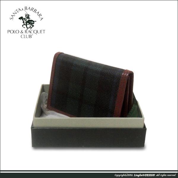 【Santa Barbara Polo聖大保羅】綠格紋名片夾SB38-00307