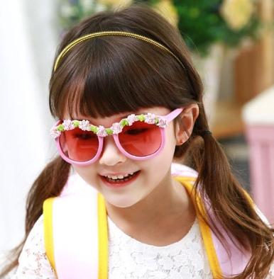 Kocotree◆夏日海洋風可愛花朵鏡框兒童防紫外線護目太陽眼鏡-粉色