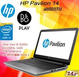 HP Pavilion Notebook 14-ab023TU TW B&O Play音效星空銀 1TB大硬碟  14W/i5-5200U /1T/4G/WIN8.1pro 64bit