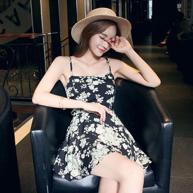 PS Mall 韓版新款花朵細肩帶吊帶連身褲裙【T1763】