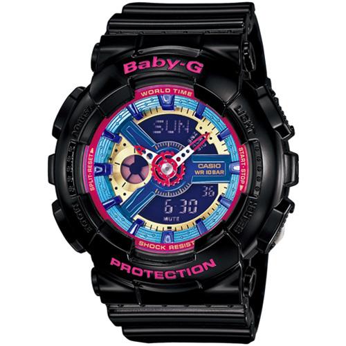 CASIO BABY-G BA-112-1A個性黑彩女孩雙顯流行腕錶/彩色面43.4mm