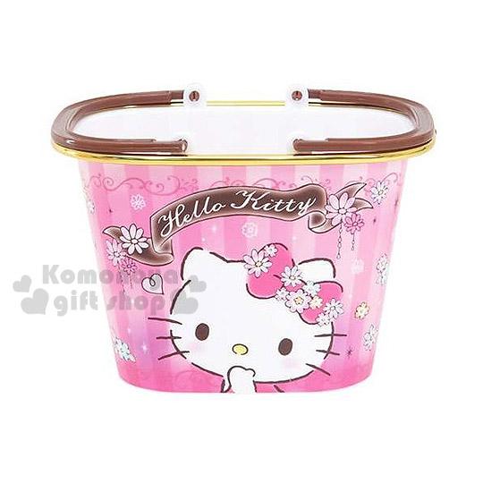 〔小禮堂〕Hello Kitty 迷你置物提籃《粉.坐姿摸下巴.直條紋.小花》輕鬆美化空間