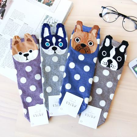韓國 立體大頭狗造型四分襪 短襪 襪子 造型襪 流行襪 法鬥 鬥牛犬 狗狗【N201012】