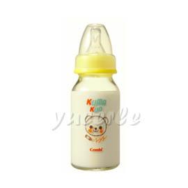 【悅兒樂婦幼用品舘】Combi 康貝 Kuma Kun 標準口耐熱玻璃哺乳瓶120ml (黃) ~新品上市~