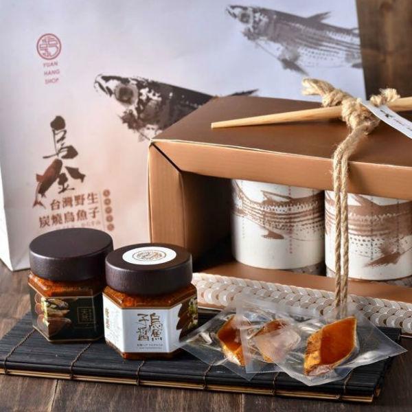 【唐墨烏魚子】台灣烏金 野生碳燒烏魚子—豪華雙拼禮盒 (烏魚子醬*2瓶 + 美味即時包烏魚子100g)