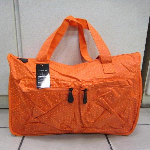 ~雪黛屋~X-TREME小點點可愛旅行袋防水尼龍布超大購物袋 大容量好收納不占空間65-2139亮桔