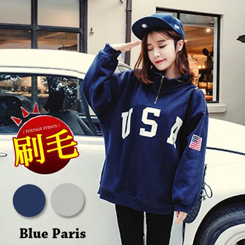 上衣 - USA美國國旗印花立領拉鍊寬鬆長袖T恤【29172】藍色巴黎《2色》現貨 + 預購