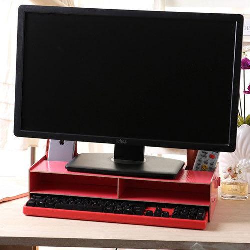 PS Mall 辦公桌面收納 DIY木質增高桌面收納電腦架【J262】