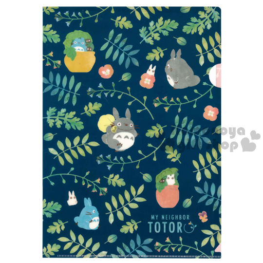 〔小禮堂〕宮崎駿Totoro龍貓 日製L型文件夾《深藍.粉.花草.滿版》