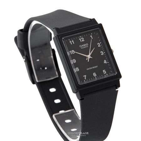 CASIO卡西歐 方形黑面數字刻度設計透氣膠錶 輕巧中性款手錶 柒彩年代【NE1855】原廠公司貨