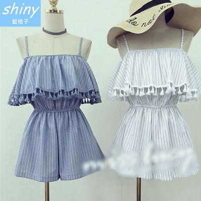 【V1035】shiny藍格子-時尚質感.條紋一字領荷葉邊流蘇收腰連身褲