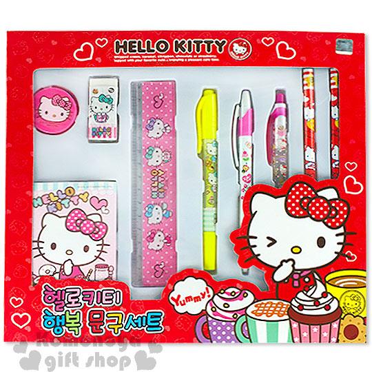 〔小禮堂韓國館〕Hello Kitty 文具組《紅盒.甜點》超值八件文具組合