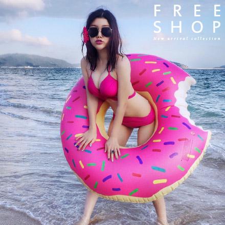 游泳圈 Free Shop【QFSJB9045】海洋沙灘派對海攤草莓巧克力甜甜圈造型游泳圈 泳池 比基尼 墾丁 女神
