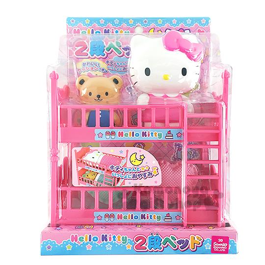 〔小禮堂嬰幼館〕Hello Kitty 家家酒雙層床玩具組《粉.公仔.小熊.愛心枕頭》
