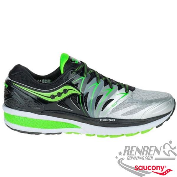 SAUCONY ISO 2 EVERUN-HURRICAN1  男慢跑鞋 (黑*綠) 穩定保護