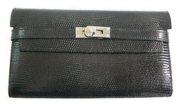 <心斎橋musee >Hermes Kelly Wallet BLACK Lizard skin Silver Hardware NEW 新商品