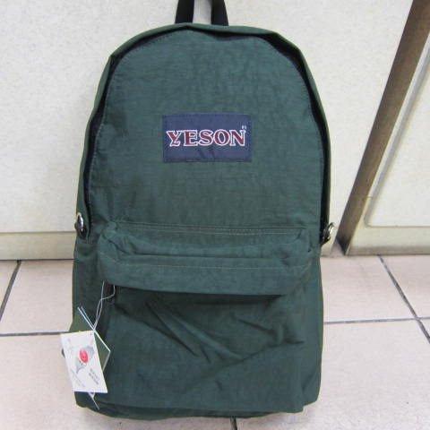 ~雪黛屋~YESON 超輕量後背包 可放A4資料夾 高單數防水尼龍布外出上學上班軟質好收納B223綠