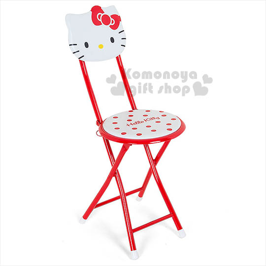 〔小禮堂〕Hello Kitty 折疊椅《紅白.大臉.點點.造型椅背》不用時可折疊收納