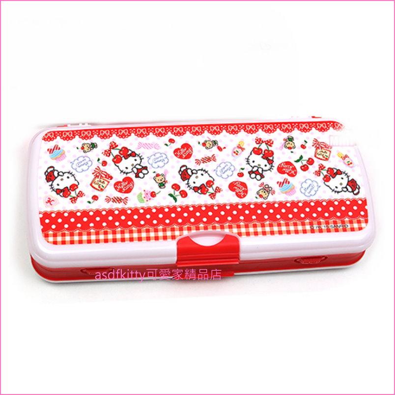 asdfkitty可愛家☆KITTY櫻桃硬盒雙面鉛筆盒-含小白板跟白板筆.小板擦-韓國製