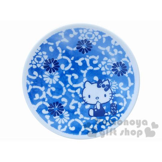 〔小禮堂〕Hello Kitty 日製陶瓷盤《小.藍.花唐草.12cm》精緻金正瓷器