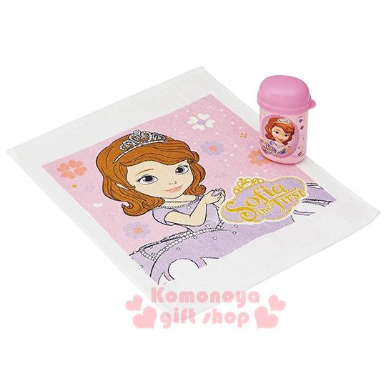 〔小禮堂〕蘇菲亞小公主 日製方形毛巾附罐《粉.捧項鍊.花.32x30cm》隨身攜帶方便