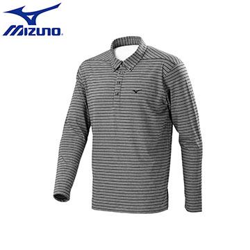 D2TA654109(黑灰)條紋彈性 合身版型 男休閒長袖POLO衫 【美津濃MIZUNO】