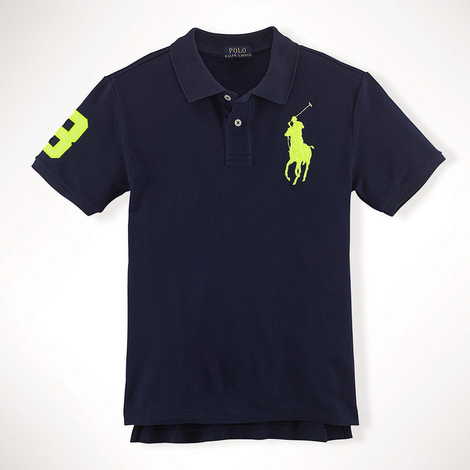 美國百分百【Ralph Lauren】Polo 衫 RL 短袖 網眼 大馬 素面 深藍 螢光綠 男 S XS號 B003
