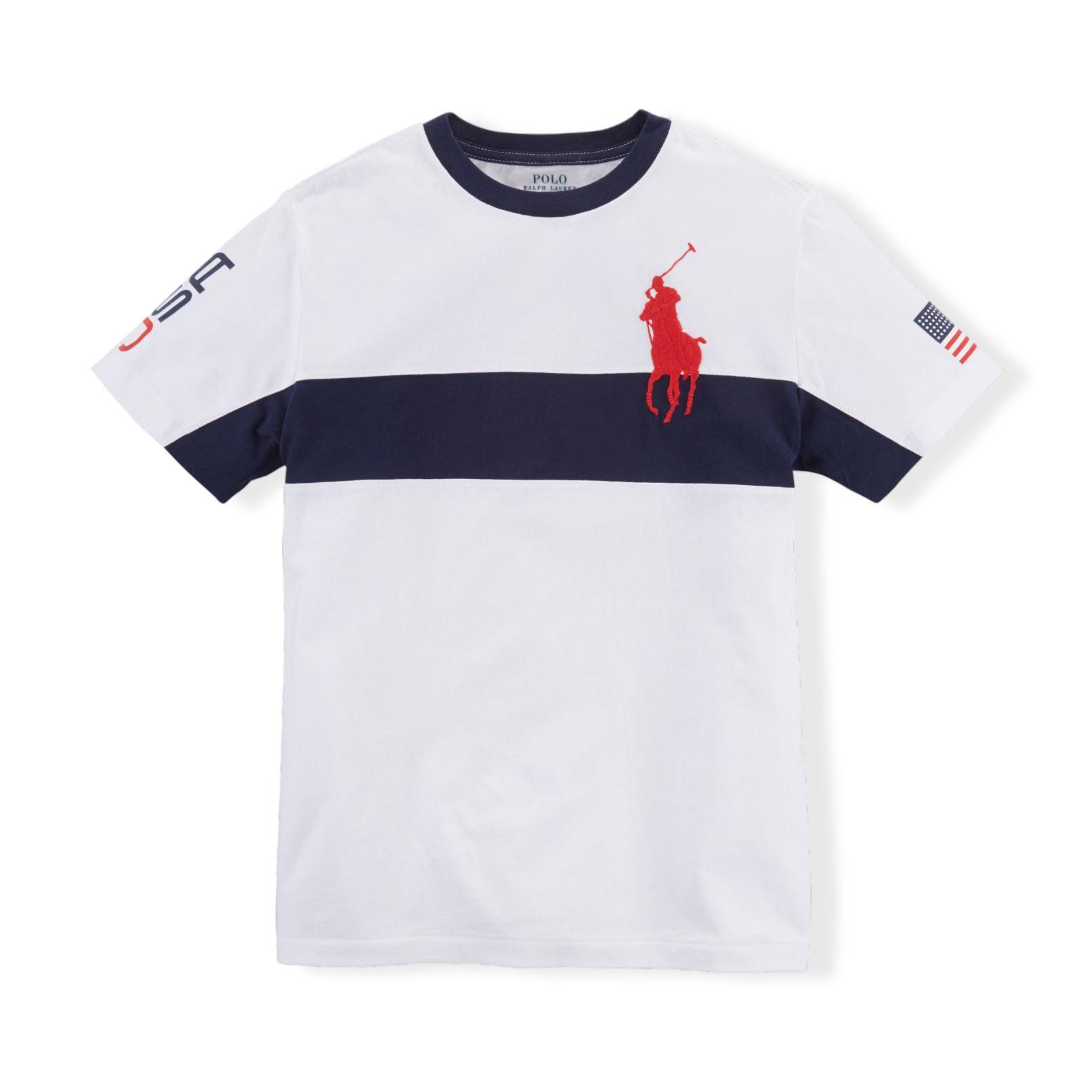 美國百分百【Ralph Lauren】T恤 男衣 RL 短袖 上衣 T-shirt Polo 大馬 國旗 白 XS S號 F313