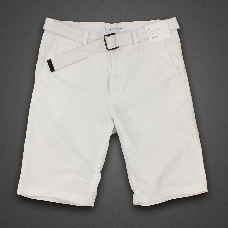 美國百分百【全新真品】Calvin Klein 短褲 CK 休閒褲 11吋 五分褲 棉麻 春夏 29腰 白 男 F330