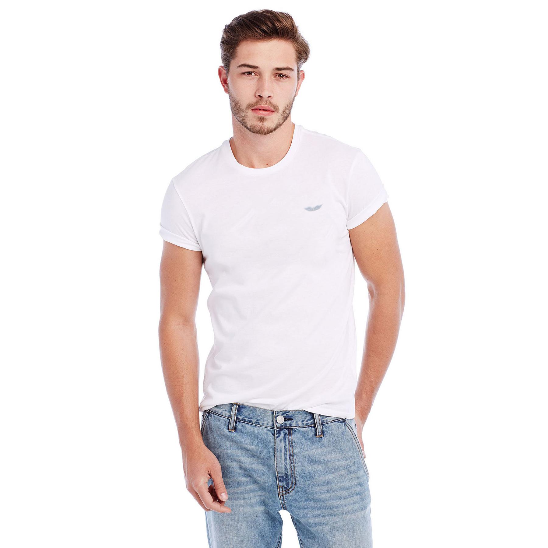美國百分百【Armani Exchange】T恤 AX 短袖 logo 上衣 T-shirt 白色 素T 男 S號 C753