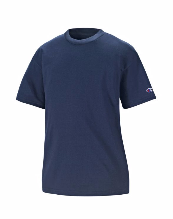 美國百分百【Champion】冠軍 T恤 短袖 T-shirt logo 素T 排汗 快乾 高磅數 深藍 S號 F386