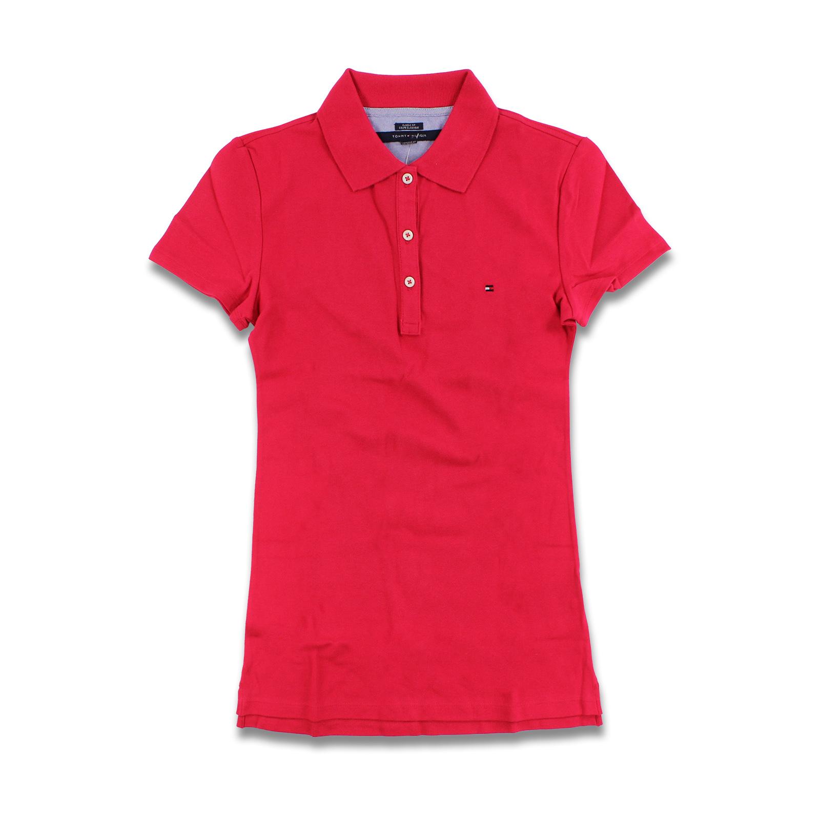 美國百分百【Tommy Hilfiger】POLO衫 TH 女衣 網眼 短袖 桃紅 腰身 顯瘦 純棉 XS S B102