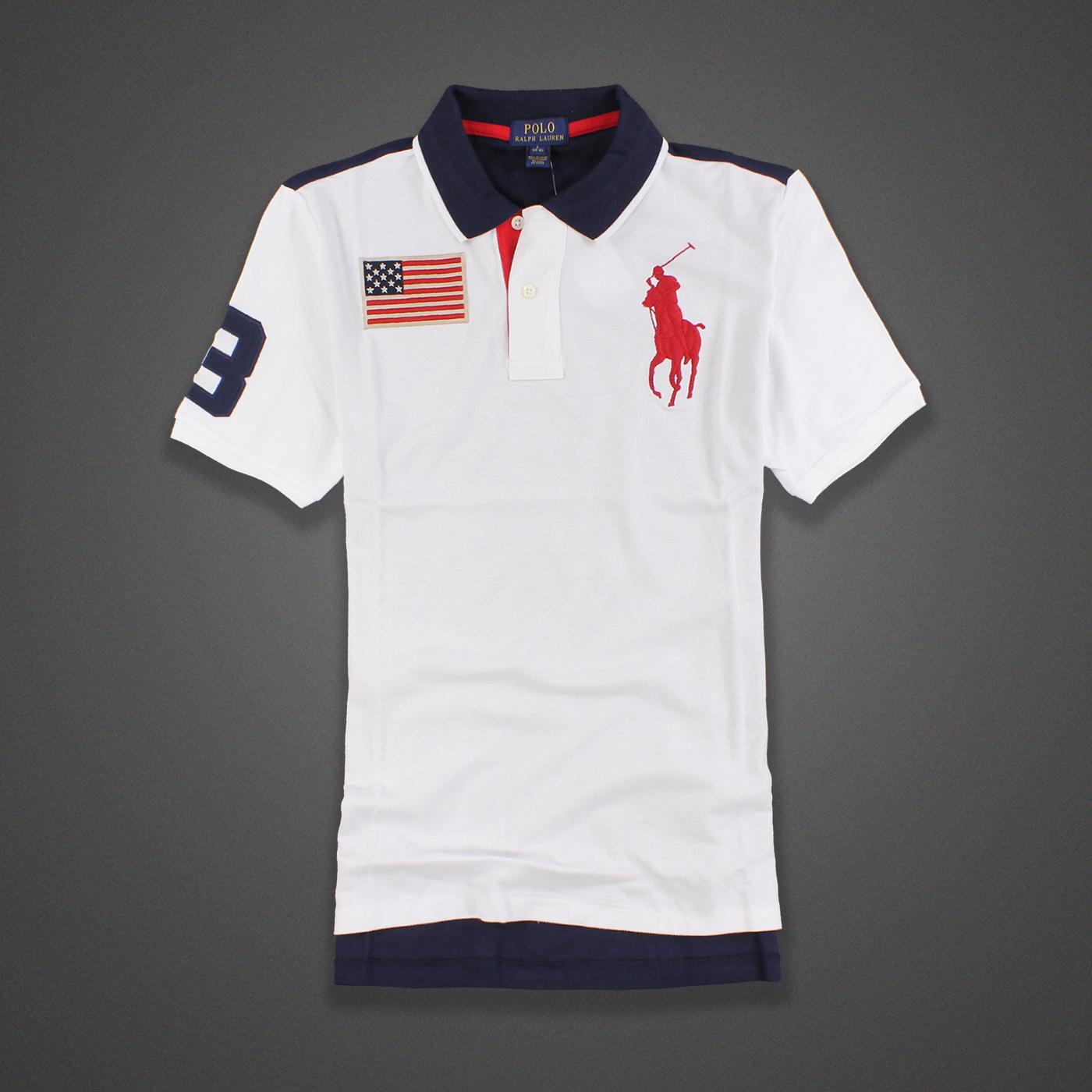 美國百分百【Ralph Lauren】Polo衫 RL 短袖 Polo 大馬 白色 深藍 國旗 旗幟 馬球 男  XS S號 F409