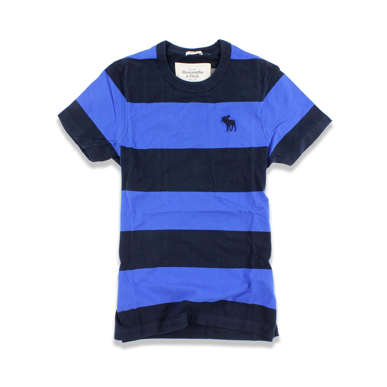 美國百分百【Abercrombie & Fitch】T恤 AF 短袖 上衣 T-shirt 麋鹿 深藍 條紋 S號 F430