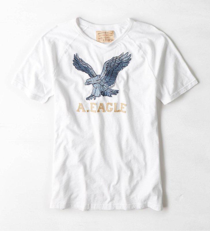 美國百分百【American Eagle】T恤 AE 短袖 上衣 T-shirt 老鷹 貼布 白色 男 XS S M號 F432