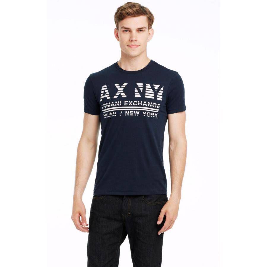 美國百分百【Armani Exchange】T恤 AX 短袖 上衣 logo 文字 T-shirt 深藍 XS S M號 E821