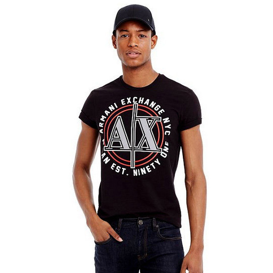 美國百分百【Armani Exchange】T恤 AX 短袖 上衣 logo 文字 T-shirt 黑色 S號 F459