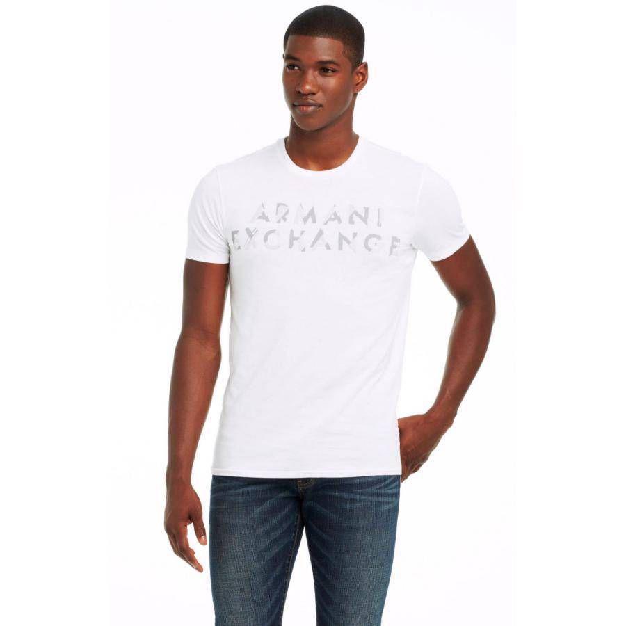 美國百分百【Armani Exchange】T恤 AX 短袖 上衣 logo 文字 T-shirt 白色 S號 F460