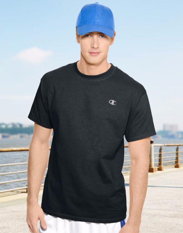 美國百分百【Champion】冠軍 T恤 短袖 T-shirt logo 素T 高磅數 排汗 快乾 黑色 S M號 F465