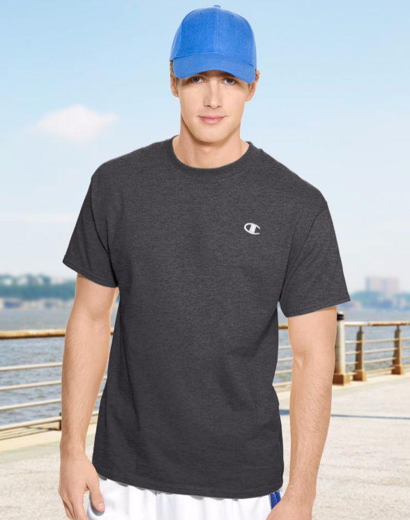 美國百分百【Champion】冠軍 T恤 短袖 T-shirt logo 素T 高磅數 排汗 快乾 鐵灰色 S M號 F465