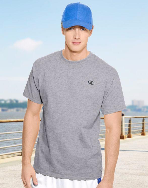 美國百分百【Champion】冠軍 T恤 短袖 T-shirt logo 素T 高磅數 排汗 快乾 灰色 M號 F465