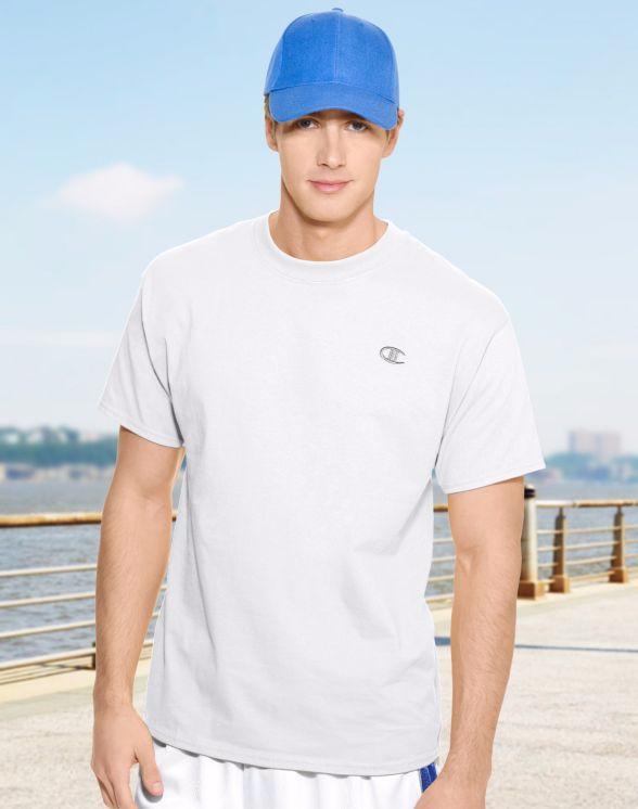 美國百分百【Champion】冠軍 T恤 短袖 T-shirt logo 素T 高磅數 排汗 快乾 白色 S號 F465