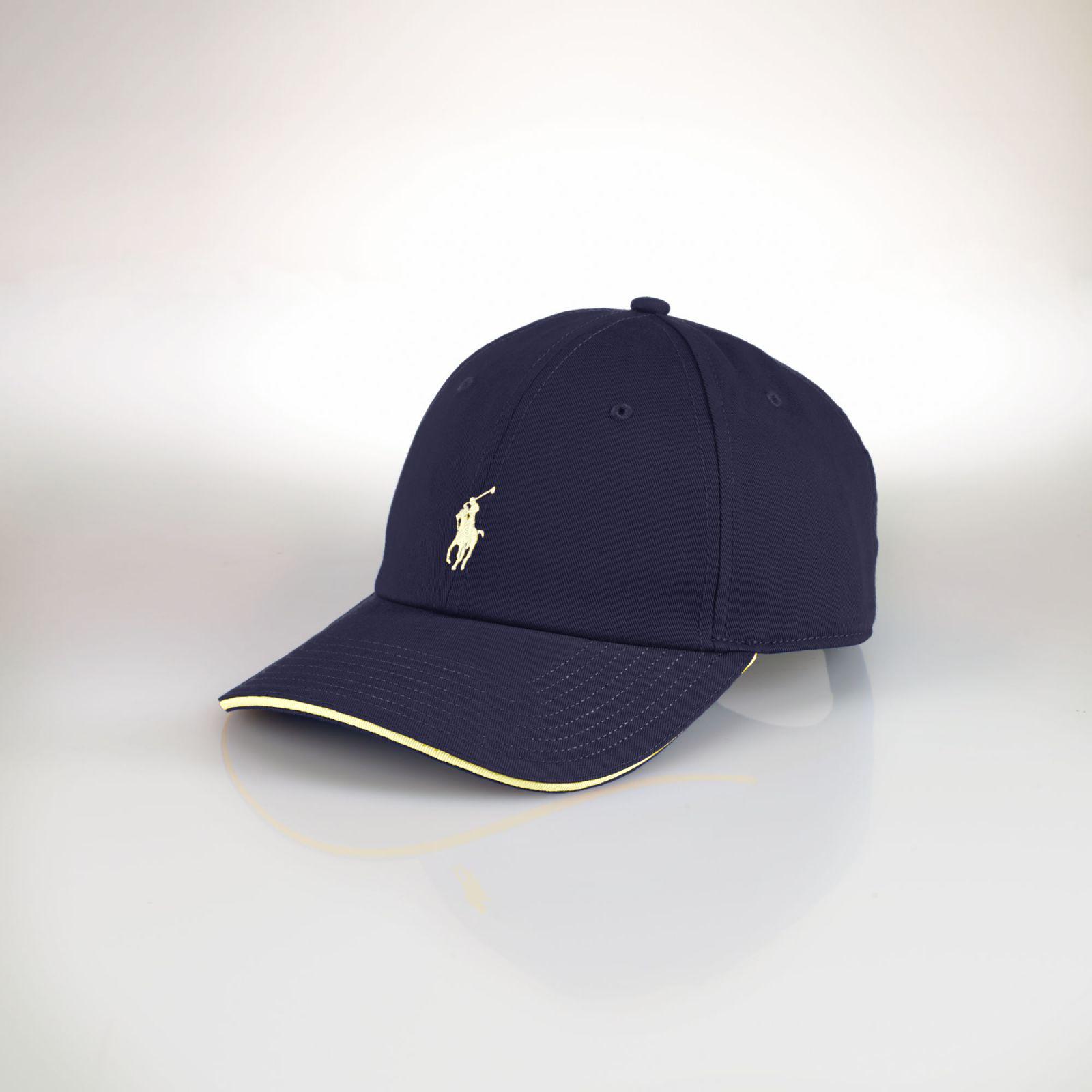 美國百分百【Ralph Lauren】帽子 RL 配件 棒球帽 Polo 小馬 滾邊 深藍 帆布 刺繡 男 F469
