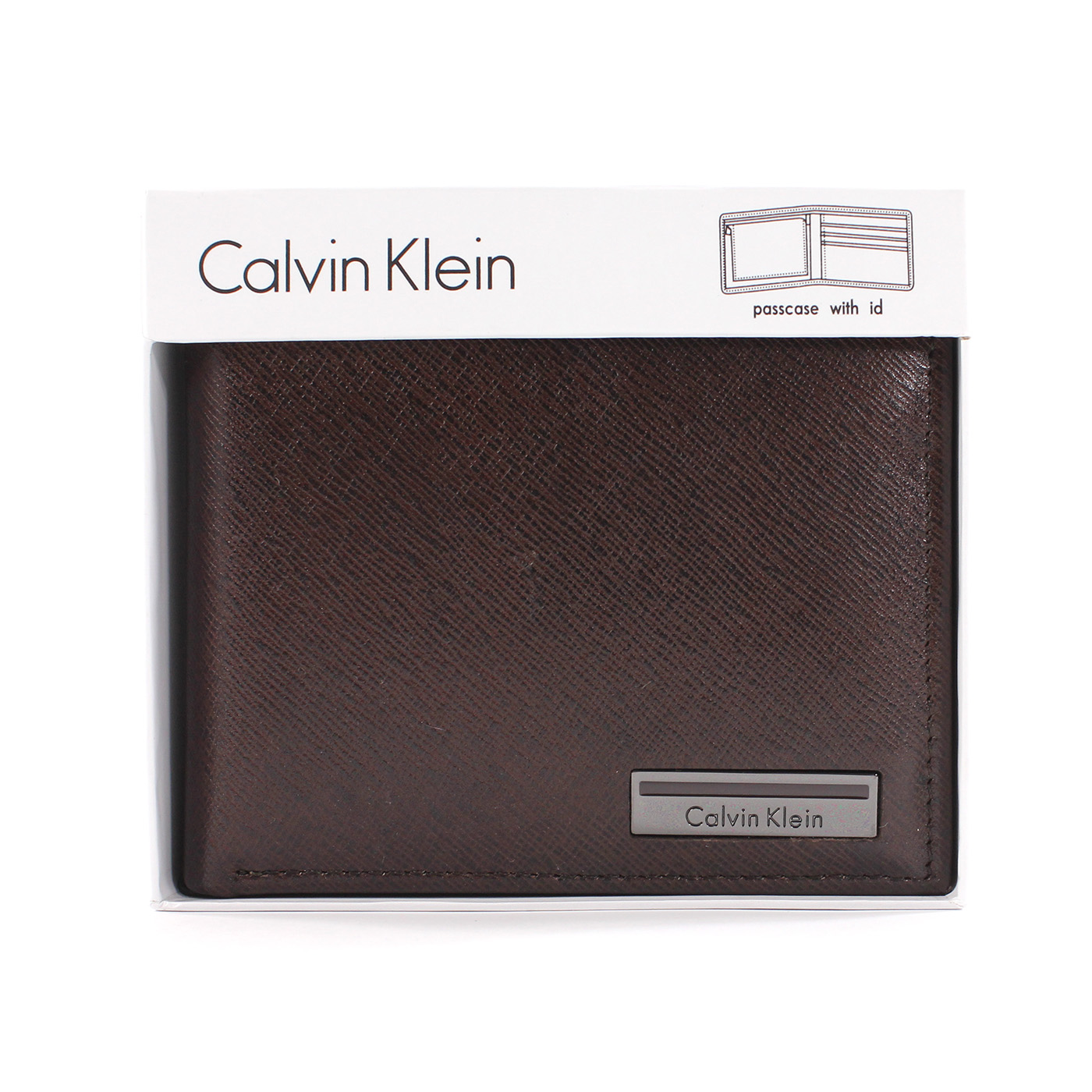 美國百分百【全新真品】Calvin Klein 皮夾 CK 短夾 真皮 菱格紋 小牛皮 質感 鈔票 男夾 咖啡 A682